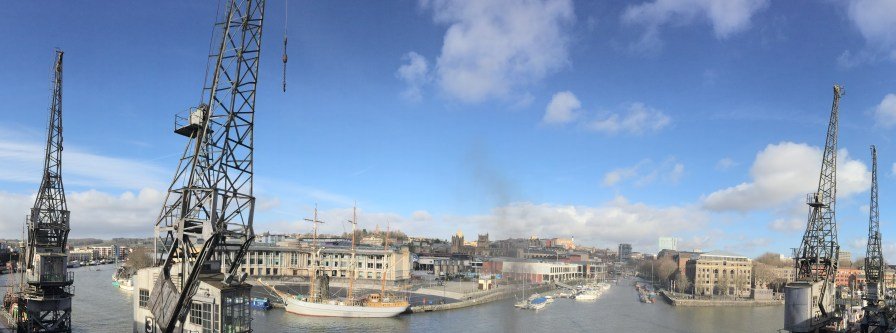 Panoramic of old cranes at Bristol harbourside