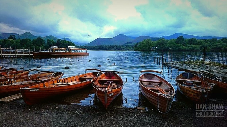 Derwentwater rowing boats at Keswick shore