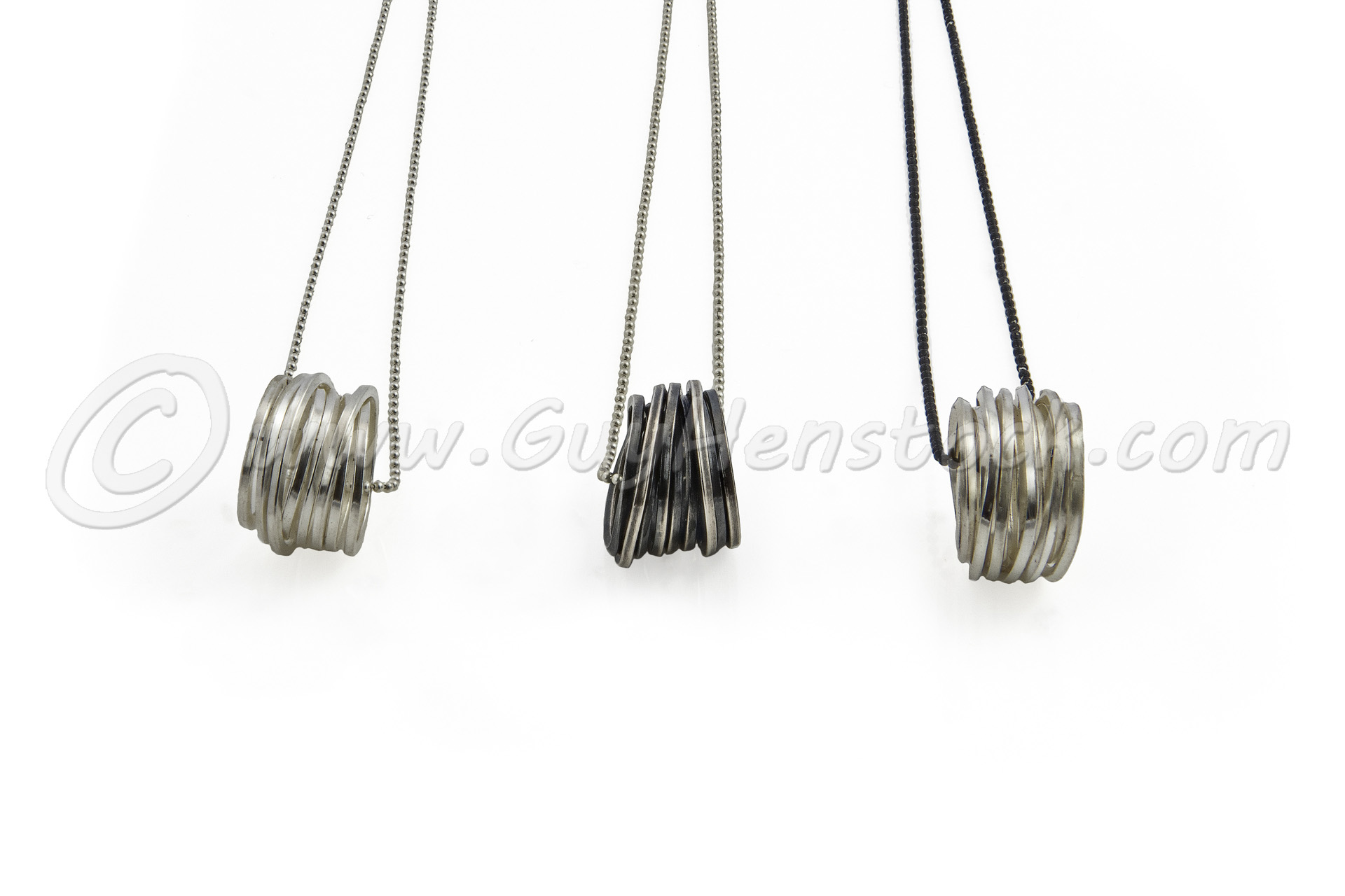 Three rings on chains Product photography