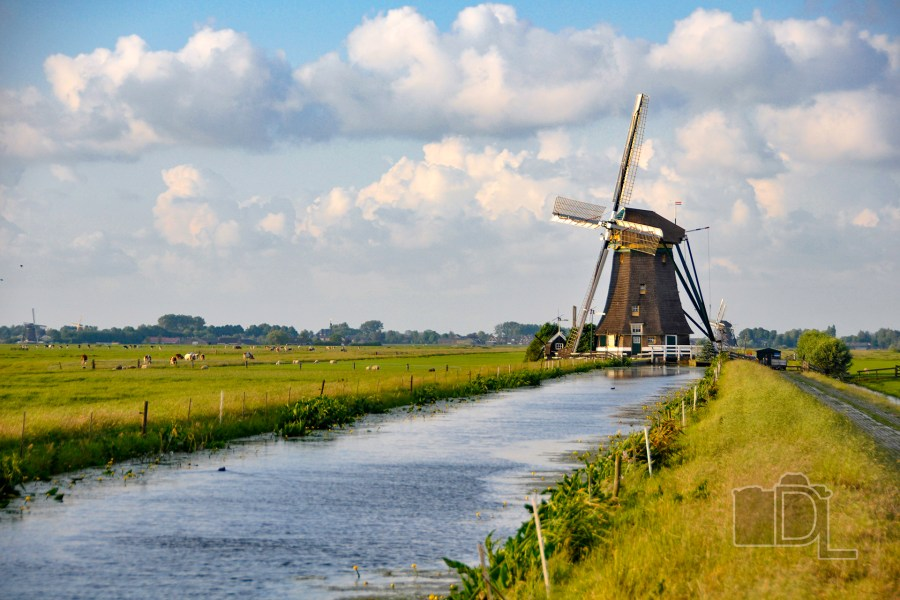 A Dutch drainage mill helps keep the fields dry near Leiden in the Netherlands.