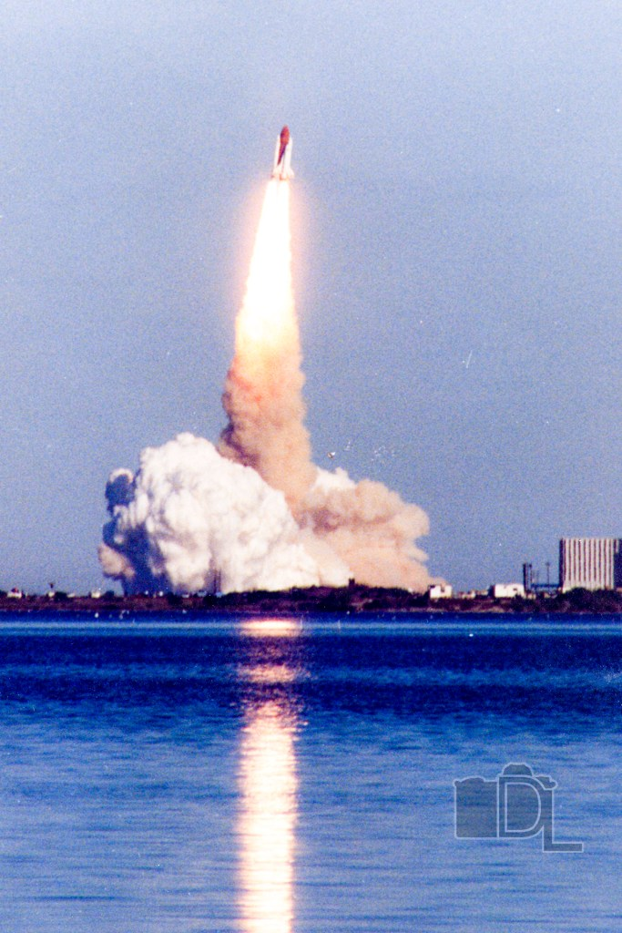 The Space Shuttle Discovery lifts off from Cape Canaveral in Florida.