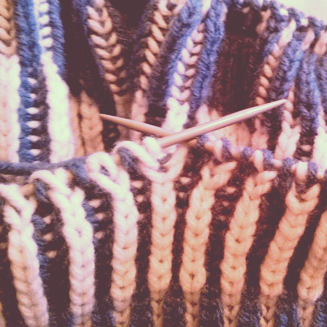 a photo of a blue and white knitting project in progress