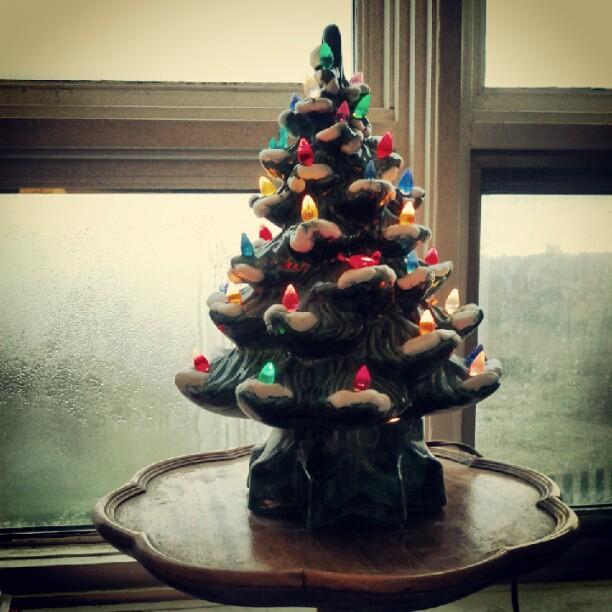 a photo of a light-up ceramic christmas tree