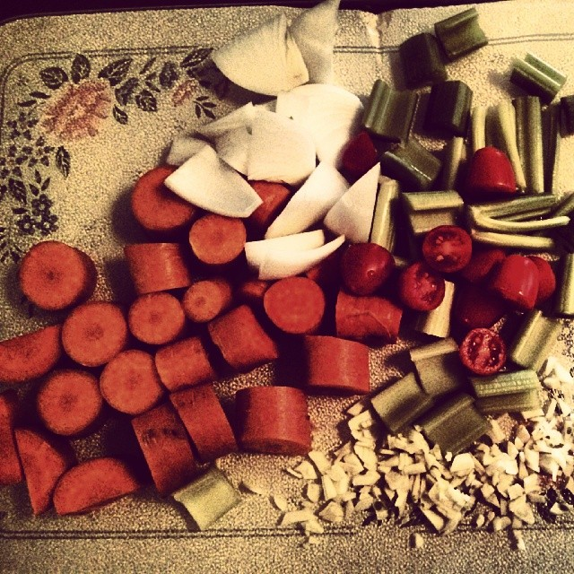a photo of some carrots, celery, tomatoes, onions and garlic all chopped up
