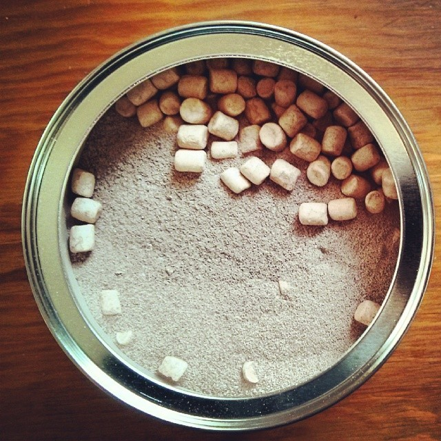 a photo of some instant hot chocolate mix with marshmallows