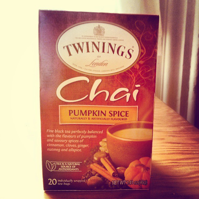 a photo of a box of twinning chai pumpkin spice tea
