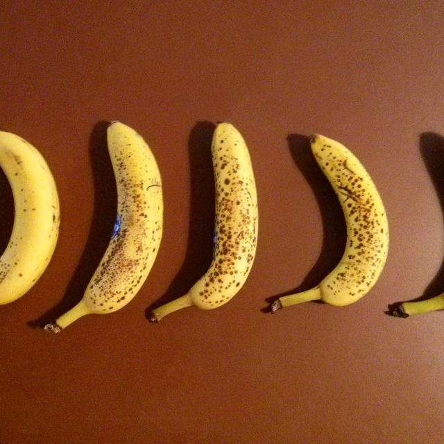 a photo of five bananas lined up