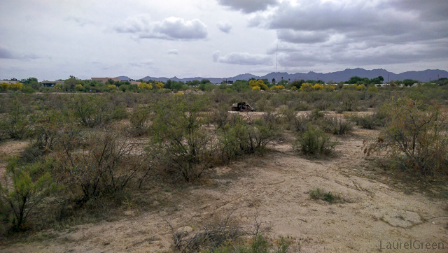 makeshift transient house in the dry rillito river
