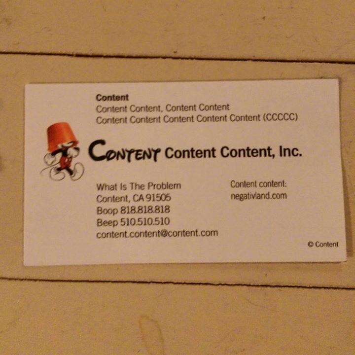 a photo of a negativland content business card