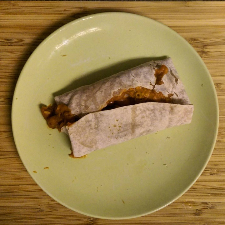 photo of an exploded burrito