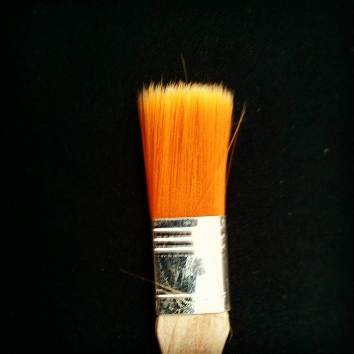 macro photo of an orange paintbrush