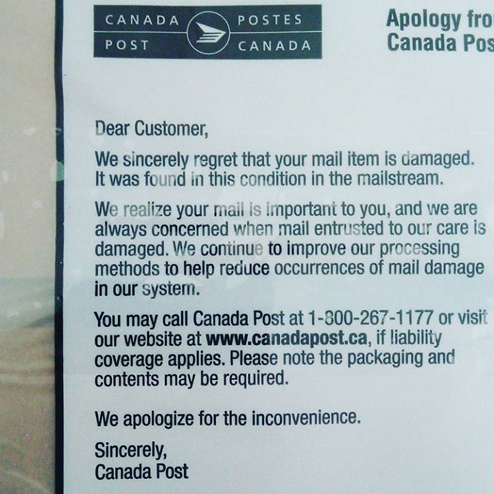 a photo of the label that canada post puts on mail that has been damaged