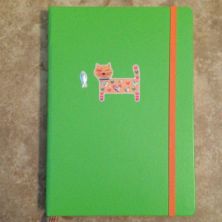 a photo of a green leuchtturm notebook with an orange cat sticker on the cover