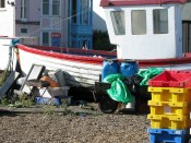 The garish jumble at the back of many of the fishing huts.