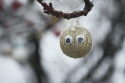 A gold glitter Christmas bauble with googly eyes hangs from a tree covered in snow in Kitsilano on a snowy day in Vancouver BC