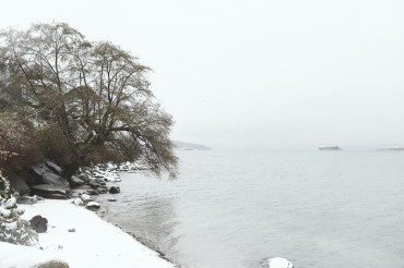 Looking from Kitsilano Yacht club across the water to Jericho Beach on a snowy day in Vancouver BC