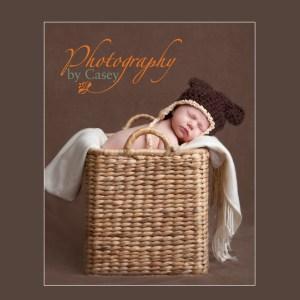 newborn baby sleeping in basket with bear hat photographer