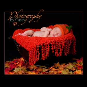 Photography of newborn baby sleeping in Autumn Leaves