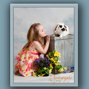 children with bunny photograph
