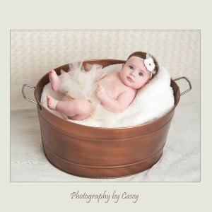 Photography of baby posed in tub