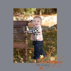 Photography of baby posing in Autumn leaves
