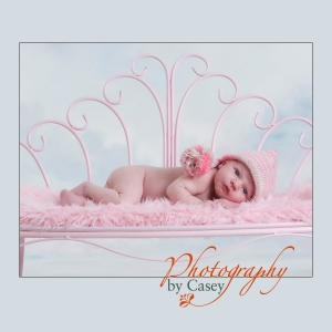 infant photography posed on ping bench