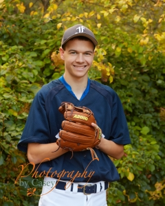 High School Senior Photography with Baseball Glove