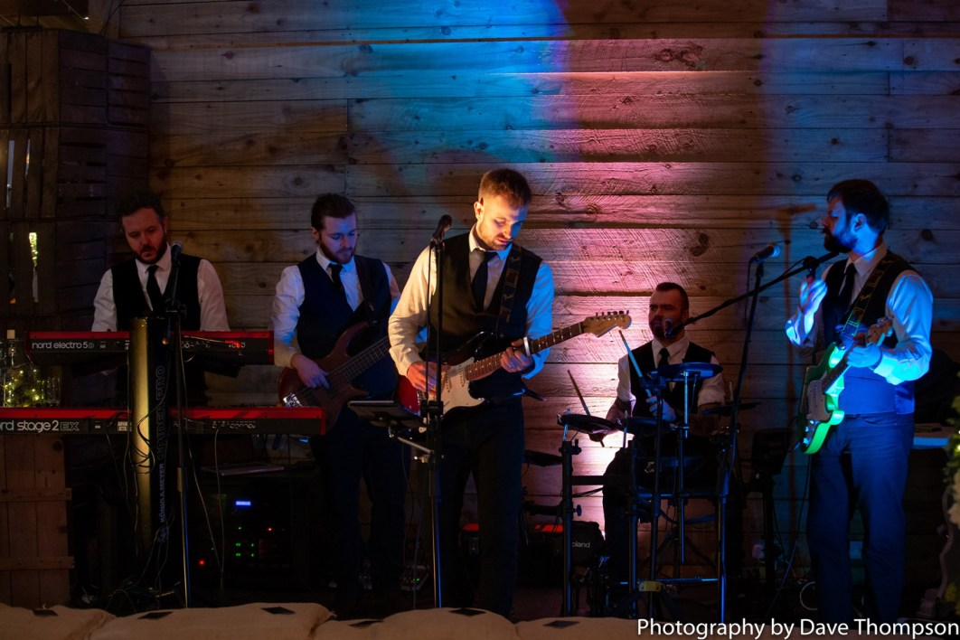 A band plays at the Alcumlow Wedding Barn Open Weekend