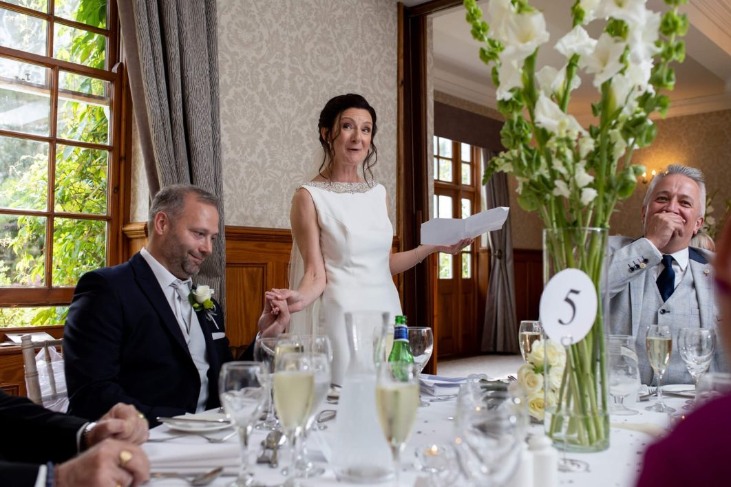 The bride delivers her speech during the wedding breakfast