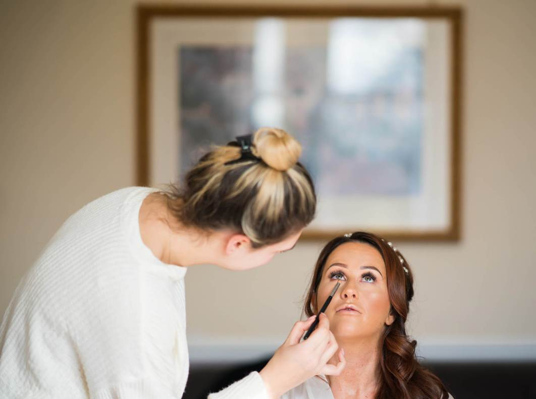 Hollin Hall Hotel Wedding Photographer - The bride has her make up done
