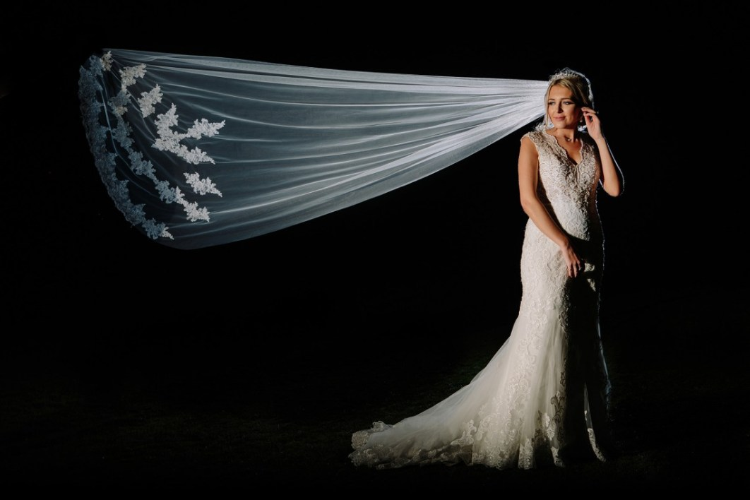 Bridal portrait at night