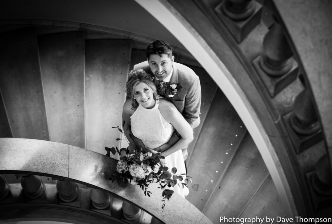 Bridal portrait in the stone stairs at Crewe Municipal buildings
