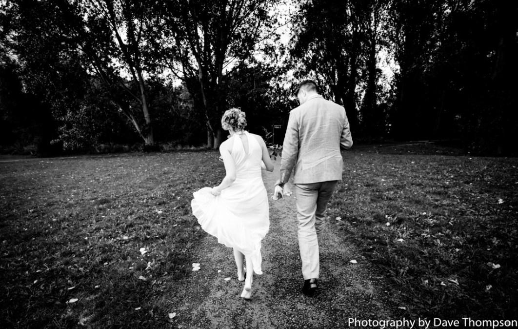 Newlyweds hand in hand