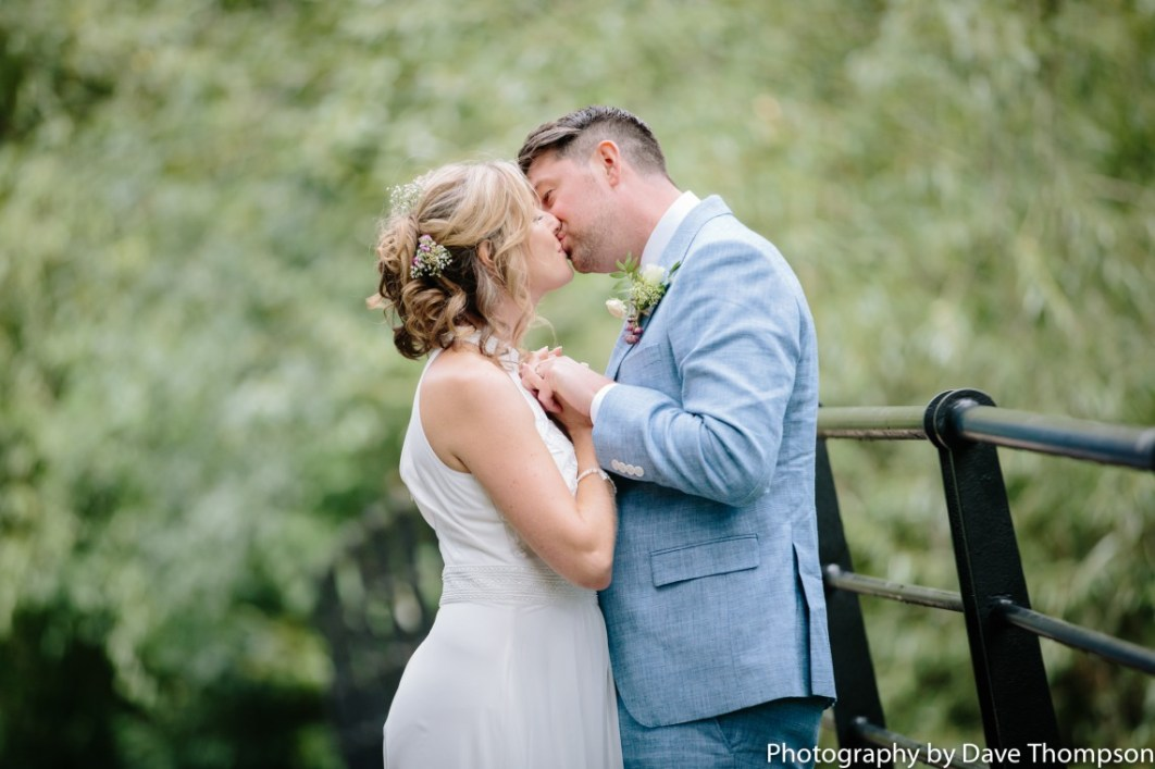 A kiss for the bride and groom