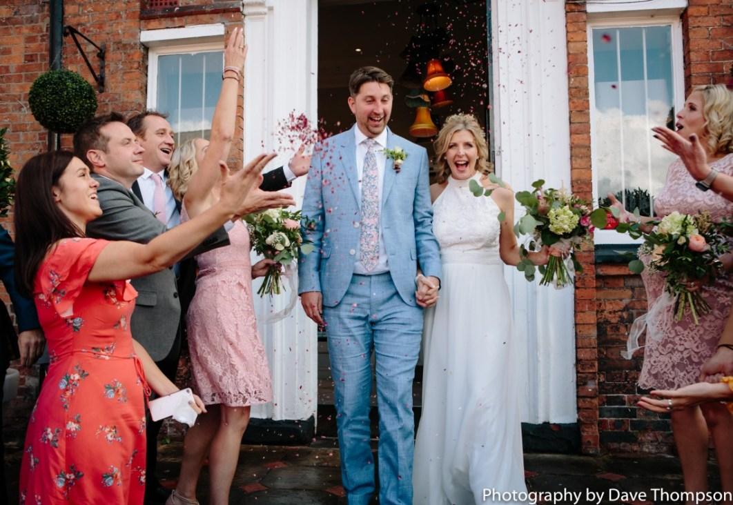 Bride and Groom confetti photograph