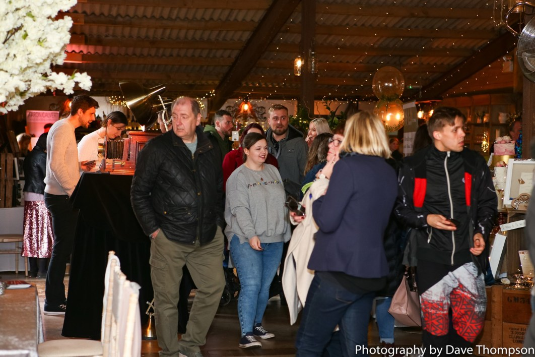 Visitors look around the Suppliers at the Alcumlow Wedding Barn Open Weekend