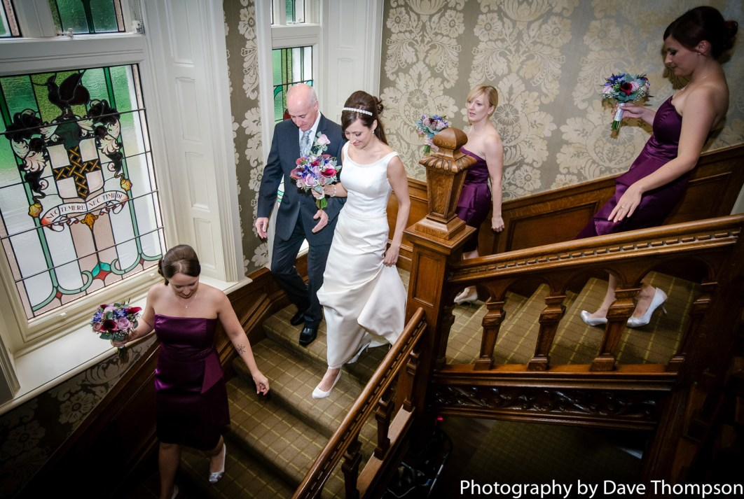 The bridal party make their way to the ceremony