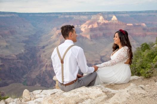7.27.17 Kathleen and Gabriel Yavapai Point and Duck on a Rock Rock Grand Canyon South Rim Monsoon Season photography by Terri Attridge-186