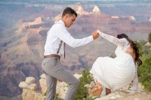 7.27.17 Kathleen and Gabriel Yavapai Point and Duck on a Rock Rock Grand Canyon South Rim Monsoon Season photography by Terri Attridge-189