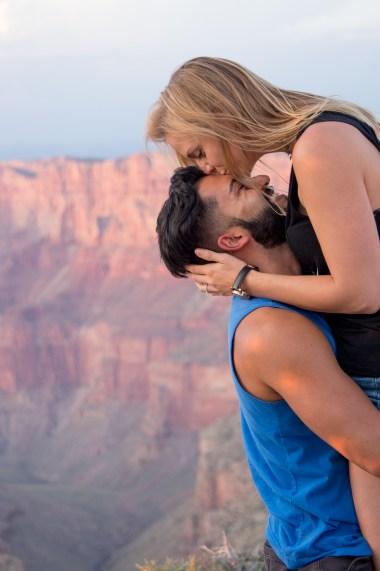 Sunset newly engaged couple at Grand Canyon