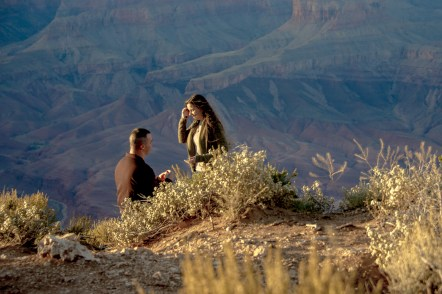 sunset engagement at Grand Canyon in action
