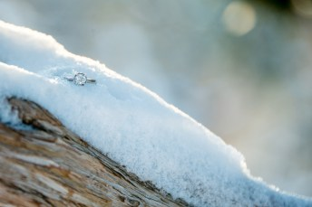 engagement ring in snow at Grand Canyon