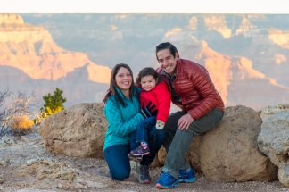 Small family photo at Grand Canyon