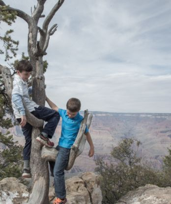 classic brother photo at Grand Canyon