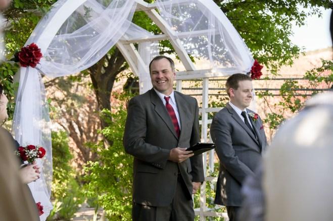 Preacher smiling - wedding