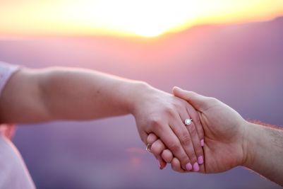 Engagement ring at sunset