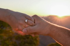 engagement ring at sunset at Grand Canyon