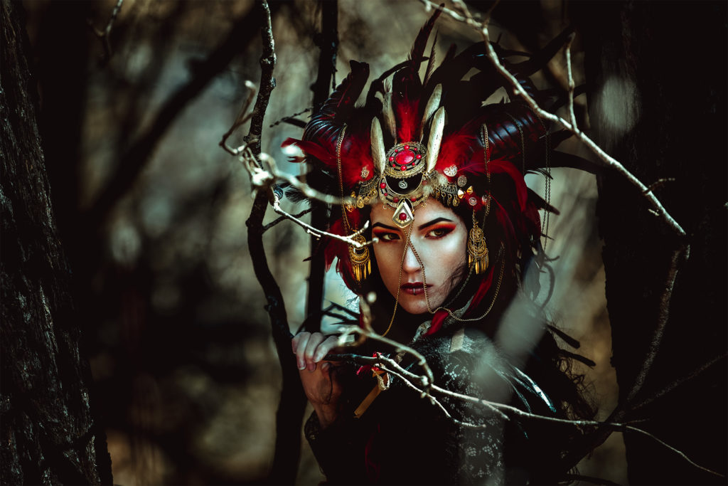 Horned Headpiece With Feathers