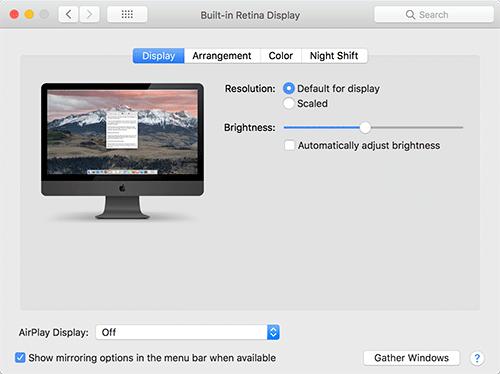 Apple Displays System Preferences