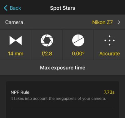 PhotoPills Screenshot of NPF Rule Spot Stars